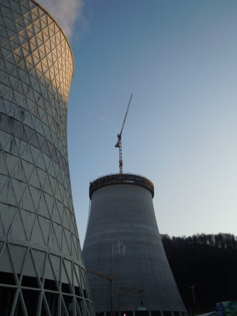 Picture of the new cooling tower in Sostanj with the adjacent cooling tower and our WT 300 e.tronic